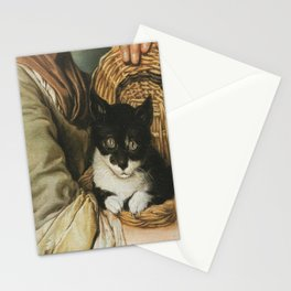 Ceruti– Portrait of girl with a cat in a basket Stationery Cards