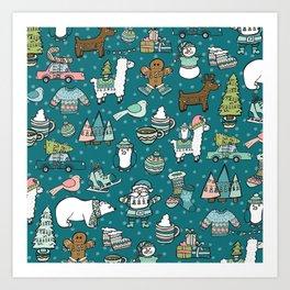 Holly Jolly Christmas Pattern, Holiday Decor, Blue Christmas, Fa la llama, Hand Drawn Illustrations Art Print