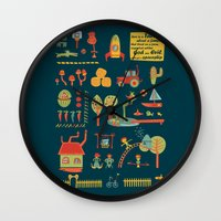 farm Wall Clocks featuring farm by blablasah
