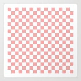 Large Lush Blush Pink and White Checkerboard Squares Art Print