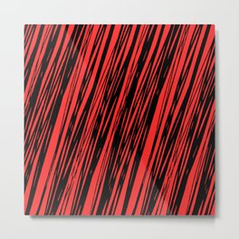 Black lines on a red background pattern Metal Print