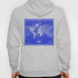 Vintage Map of The World (1833) Blue & White Hoody