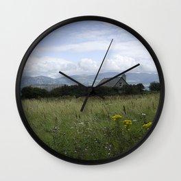Farmhouse in the fields Wall Clock