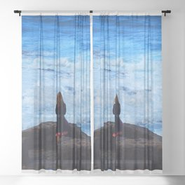 Ocean lover, meditation in front of the sea Sheer Curtain