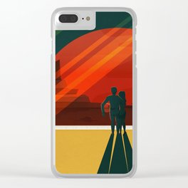 THE MOONS OF MARS - Phobos & Deimos | Space | X | Retro | Vintage | Futurism | Sci-Fi | Two Clear iPhone Case