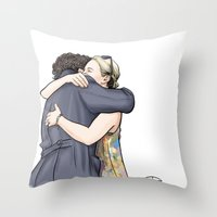 hug Throw Pillows featuring Hug by Alessia Pelonzi