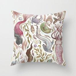 Mermaids and Sea Creatures Throw Pillow