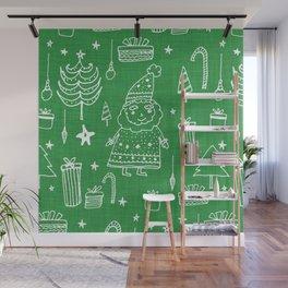 Santa Workshop Green Wall Mural