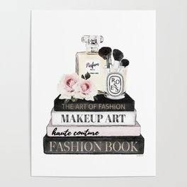 Fashion wall art, Books, Perfume, Roses, Makeup brushes, Blush, pink, Black and white, watercolor Poster