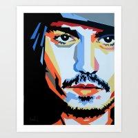 johnny depp Art Prints featuring Johnny Depp by iankingart
