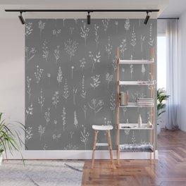 Grey Wildflowers Wall Mural