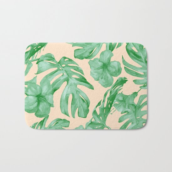 Tropical Coral Green Leaves Flower Pattern Bath Mat