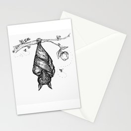 bat and bee pollinators in an apple tree Stationery Cards