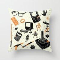 Throw Pillows featuring Nerd Life by Josh Ln