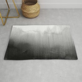 Modern Black and White Watercolor Gradient Rug
