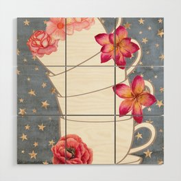 Floral Coffee Cups Wood Wall Art