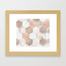 Rose pearl and marble hexagons Framed Art Print