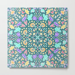 Teal Tile Design Metal Print