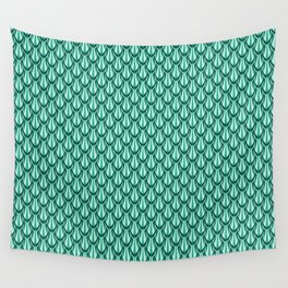 Gleaming Green Metal Scalloped Scale Pattern Wall Tapestry