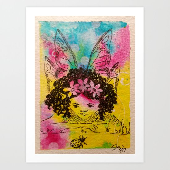 Making Friends ( Fairy and lady bug ) Art Print