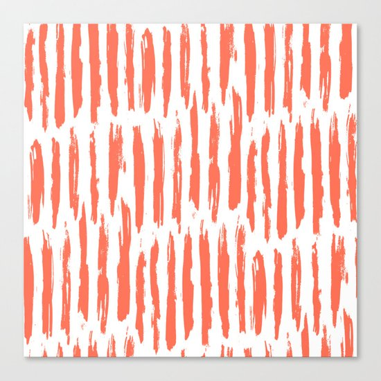 Vertical Dash Deep Coral on White Canvas Print