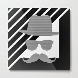 Hat - sunglass - mustage - face - black. Metal Print