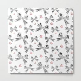 Pink bow heart Metal Print
