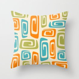 Mid Century Modern Cosmic Abstract 738 Orange Blue and Green Throw Pillow