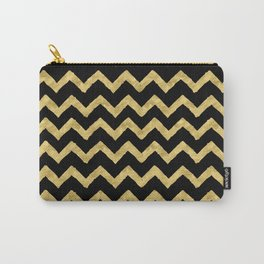 Chevron Black And Gold Carry-All Pouch