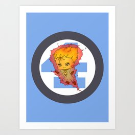 Chibi Human Torch Art Print