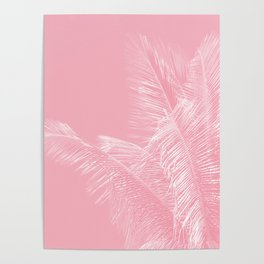 Millennial Pink illumination of Heart White Tropical Palm Hawaii Poster