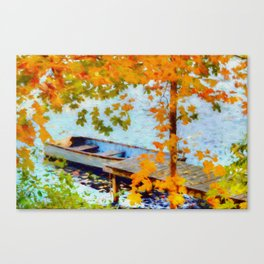 Boat Under Falling Leaves Canvas Print
