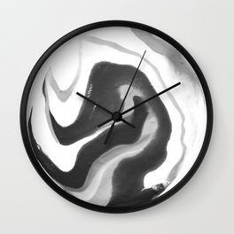 If On A Winter's Night A Traveller Goes to World's End, Marbling Black and White Cirle Wall Clock