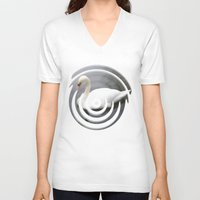 swan queen V-neck T-shirts featuring Swan by IvaW