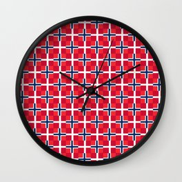 Mix of flag: norway and denmark Wall Clock