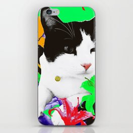 Winky Cat and Neon Lilies iPhone Skin