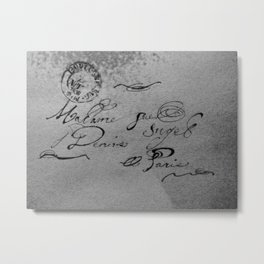 Bonjour Madam, gray Metal Print