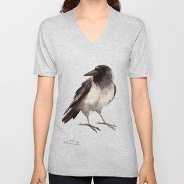 Crow decor, hooded crow art Unisex V-Neck