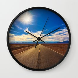 Desert Road on a Sunny Day Wall Clock