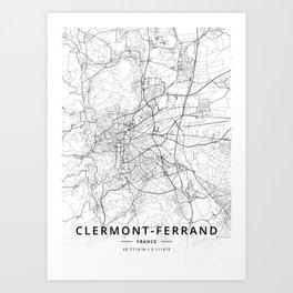 Clermont-Ferrand, France - Light Map Art Print
