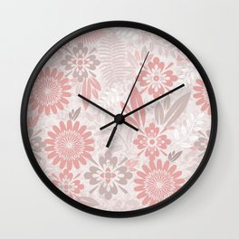 Floral Pattern in Coral Pink and Gray Wall Clock