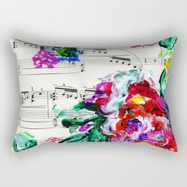 Musical Beauty - Floral Abstract - Piano Notes Rectangular Pillow