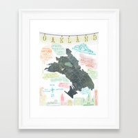 oakland Framed Art Prints featuring Oakland Map by Mara Penny
