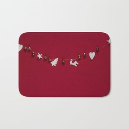 Christmas Decorations on Red (Color) Bath Mat