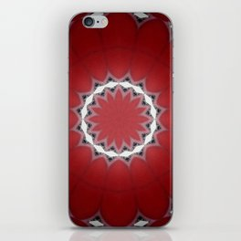 Red Flower with Black and White Accents iPhone Skin