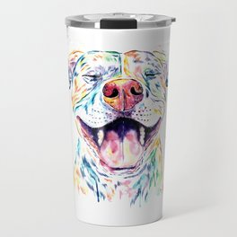 Pit Bull, Pitbull Watercolor Pet Portrait Painting - Tango Travel Mug