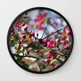 RED APPLE BLOSSOMS Wall Clock