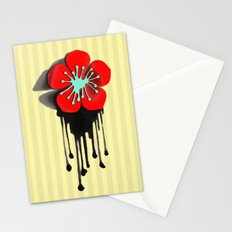 Red and Aqua Atomic Flower Stationery Cards