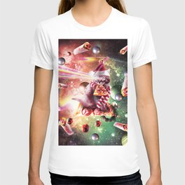 Christmas Space Cat Eating Pizza - Laser Eyes T-shirt