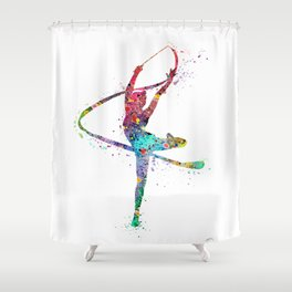 Rhythmic Gymnastics Print Sports Print Watercolor Print Shower Curtain